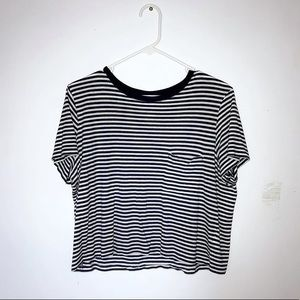 H&M Navy and white striped crop top